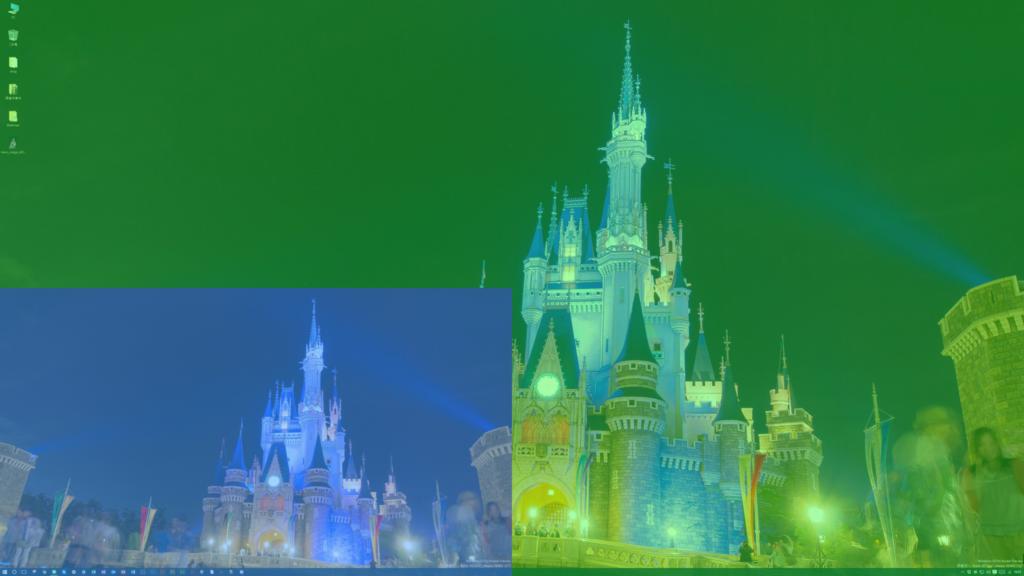 緑色が4Kモニターの表示領域。青色が2K(フルHD)モニターの表示領域。